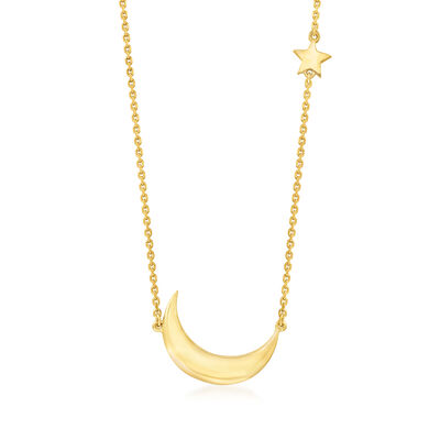 14kt Yellow Gold Crescent Moon and Star Necklace
