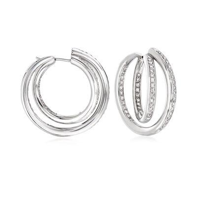 C. 1990 Vintage 1.40 ct. t.w. Diamond Double Inside-Outside Hoop Earrings in 18kt White Gold, , default