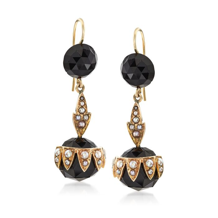 C. 1900 Vintage Black Onyx Bead and Cultured Pearl Earrings in 14kt Yellow Gold