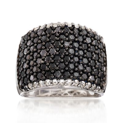 4.00 ct. t.w. Black Spinel and .40 ct. t.w. White Topaz Wide Band Ring in Sterling Silver