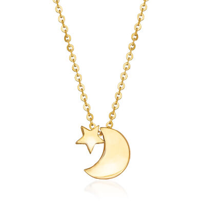 Child's 14kt Yellow Gold Crescent Moon and Star Necklace, , default
