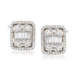 1.75 ct. t.w. Diamond Mosaic Earrings in 18kt White Gold, , default