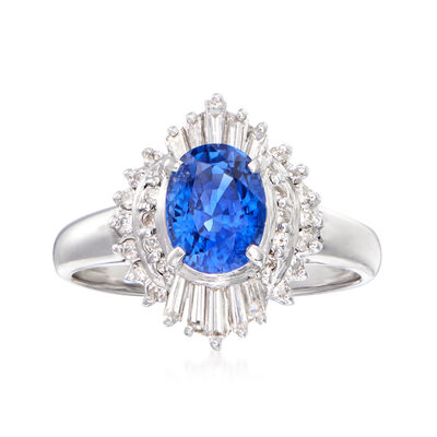 C. 1980 Vintage 1.74 Carat Sapphire and .45 ct. t.w. Diamond Ring in Platinum