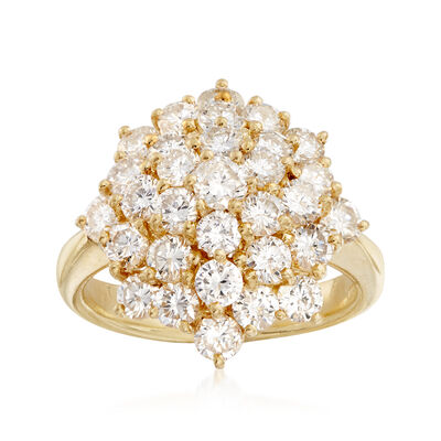 C. 1990 Vintage 2.55 ct. t.w. Diamond Cluster Ring in 18kt Yellow Gold, , default