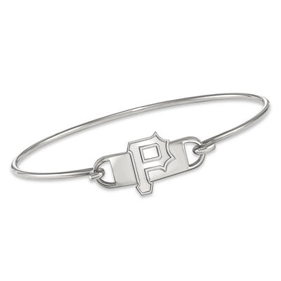"""Sterling Silver MLB Pittsburgh Pirates Small Center Wire Bangle Bracelet. 7"""", , default"""