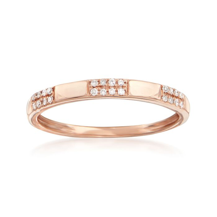 Diamond-Accented Section Ring in 14kt Rose Gold, , default
