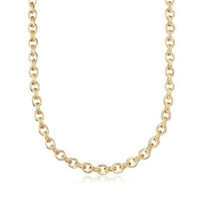 18kt Yellow Gold Oval-Link Necklace, , default