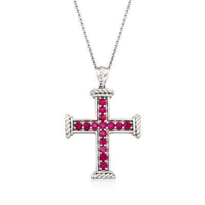 1.30 ct. t.w. Ruby Cross Pendant Necklace in Sterling Silver, , default