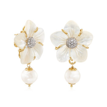 Italian Mother-Of-Pearl and 12mm Cultured Pearl Flower Drop Earrings with CZs in 18kt Gold Over Sterling , , default
