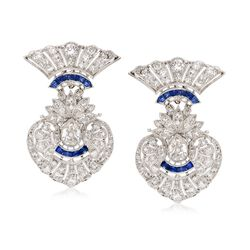 C. 1960 Vintage 3.85 ct. t.w. Diamond and .50 ct. t.w. Sapphire Earrings in Platinum , , default