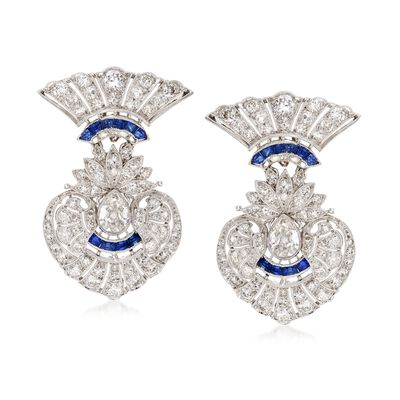 C. 1960 Vintage 3.85 ct. t.w. Diamond and .50 ct. t.w. Sapphire Earrings in Platinum, , default