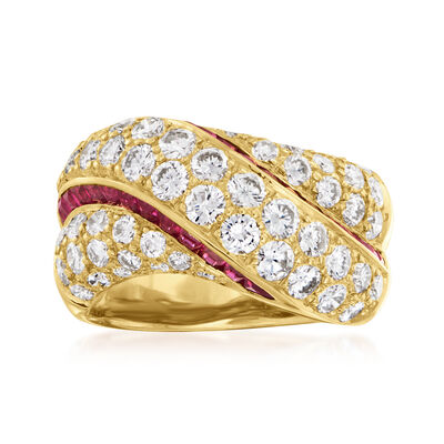 C. 1980 Vintage 2.47 ct. t.w. Diamond and .70 ct. t.w. Ruby Crisscross Ring in 18kt Yellow Gold