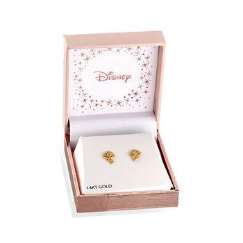 Child's Disney 14kt Yellow Gold Belle Rose Stud Earrings, , default