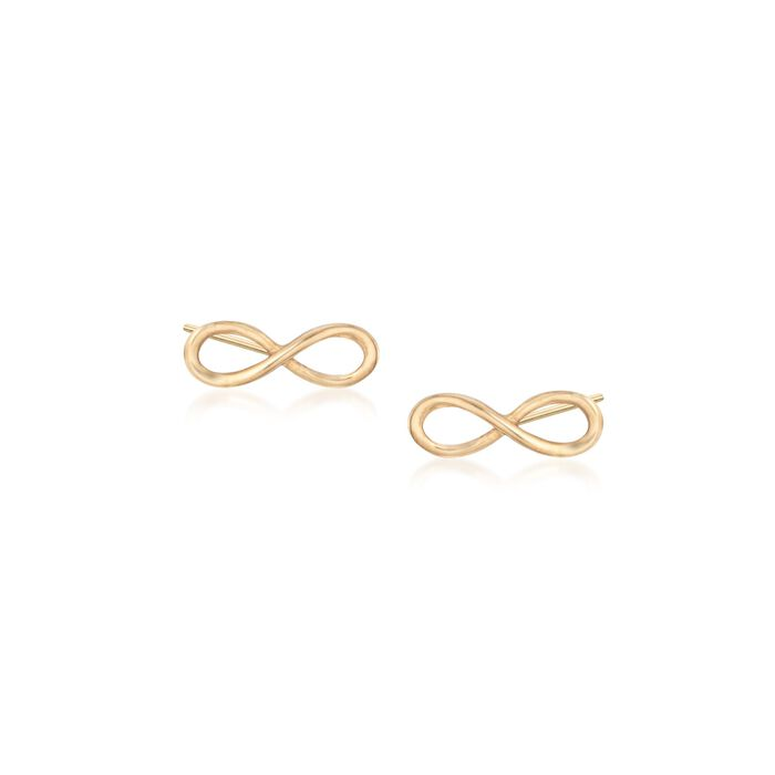 18kt Yellow Gold Infinity Symbol Stud Earrings, , default