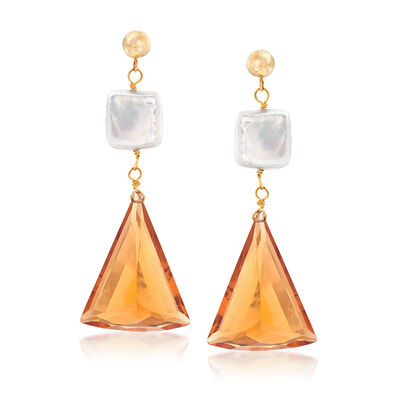 10mm Cultured Pearl and 30.00 ct. t.w. Citrine Drop Earrings in 14kt Yellow Gold, , default