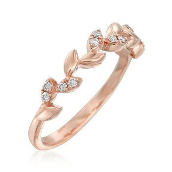 .12 ct. t.w. Diamond Leaf Ring in 14kt Rose Gold, , default
