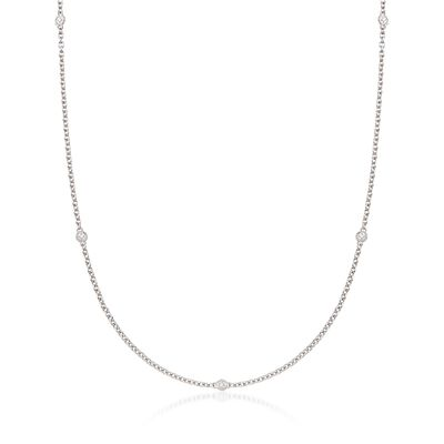 "Andrea Candela ""Enamorada"" Sterling Silver Station Necklace with Diamond Accents, , default"