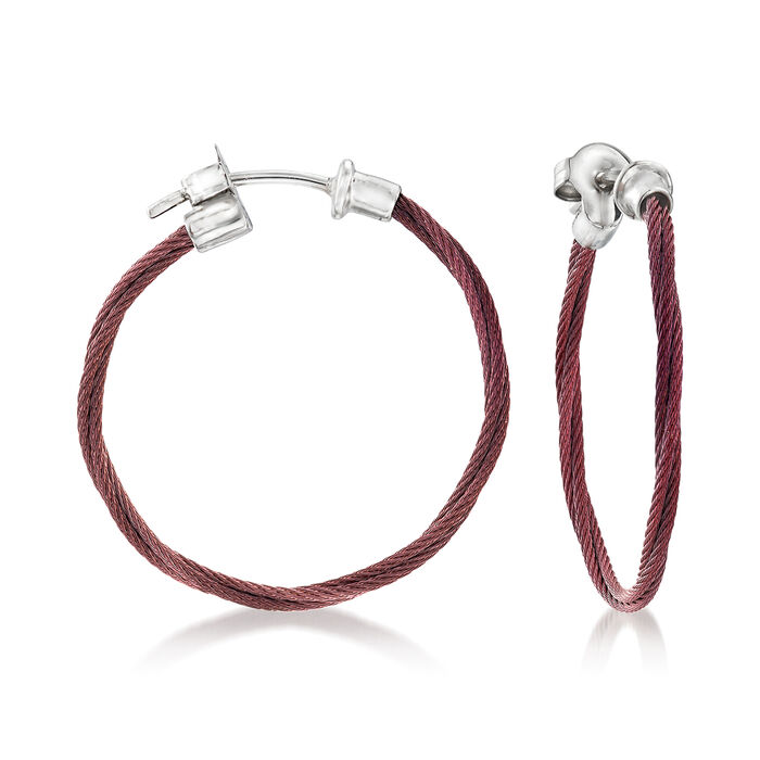 """ALOR """"Classique"""" Burgundy Stainless Steel Hoop Earrings with 18kt White Gold. 1"""", , default"""