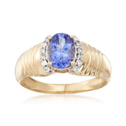 1.20 Carat Tanzanite and .12 ct. t.w. Diamond Ring in 14kt Yellow Gold, , default