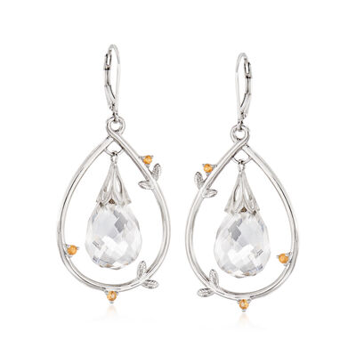 Crystal and .20 ct. t.w. Yellow Sapphire Vine Drop Earrings in Sterling Silver