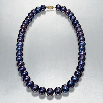 10-11mm Black Cultured Pearl Necklace With 14kt Yellow Gold, , default