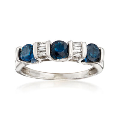 C. 1980 Vintage 1.00 ct. t.w. Sapphire and .15 ct. t.w. Diamond Alternating Ring in 14kt White Gold, , default
