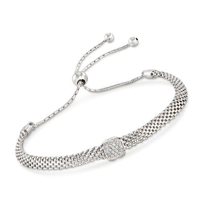 Italian Sterling Silver Mesh Bolo Bracelet with CZ Station