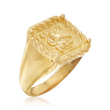 Italian 18kt Gold Over Sterling Square-Top Gryphon Ring. Size 7, , default