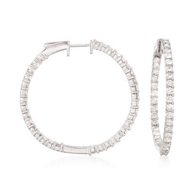 3.00 ct. t.w. Diamond Inside-Outside Hoop Earrings in 14kt White Gold, , default
