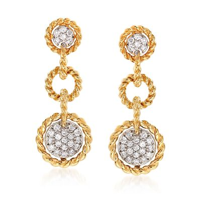 "Roberto Coin ""Barocco"" .49 ct. t.w. Diamond Drop Earrings in 18kt Yellow Gold, , default"