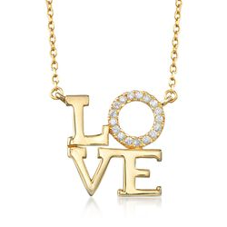 "Italian 14kt Yellow Gold Over Sterling Silver ""Love"" Necklace With CZ Accents, , default"