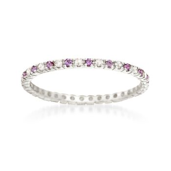 .13 ct. t.w. Amethyst and .14 ct. t.w. Diamond Eternity Band in 14kt White Gold, , default
