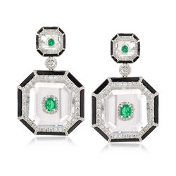 .95 ct. t.w. Emerald and 2.40 ct. t.w. Diamond Geometric Drop Earrings With Crystals and Black Onyx in 18kt White Gold, , default