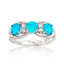 Blue Opal and .10 ct. t.w. White Zircon Ring in Sterling Silver, , default