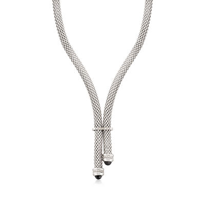 "Phillip Gavriel ""Popcorn"" Black Onyx and .90 ct. t.w. Diamond Necklace in Sterling Silver, , default"