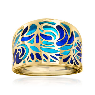 Italian Blue Enamel Ring in 14kt Yellow Gold