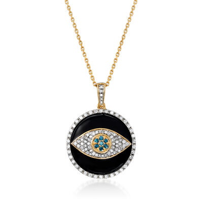 .50 ct. t.w. Blue and White Diamond and Black Enamel Evil Eye Pendant Necklace in 18kt Gold Over Sterling, , default