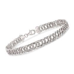 14kt White Gold Double-Oval Link Bracelet, , default