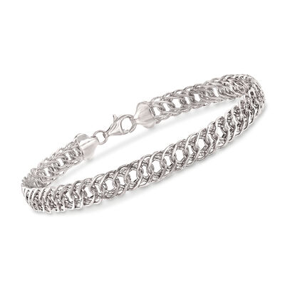 14kt White Gold Double-Oval Link Bracelet, , default