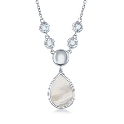 Mother-Of-Pearl and .70 ct. t.w. Blue Topaz Drop Necklace in Sterling Silver, , default