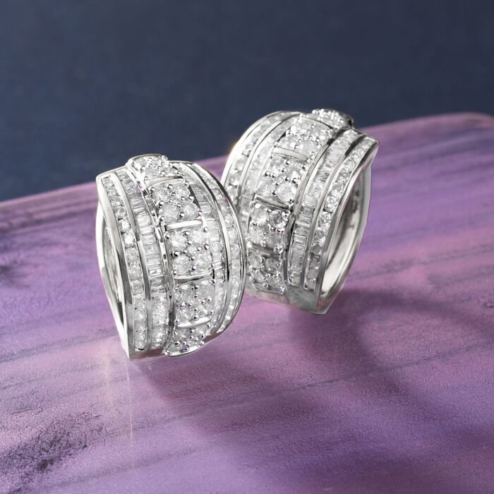 3.00 ct. t.w. Round and Baguette Diamond Hoop Earrings in Sterling Silver