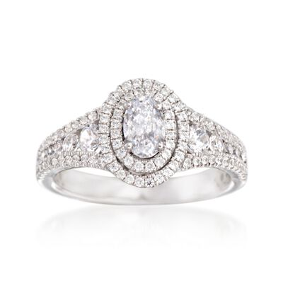 Simon G. .69 ct. t.w. Diamond Double Halo Engagement Ring Setting in 18kt White Gold
