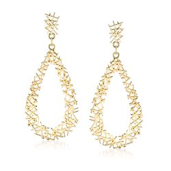 14kt Yellow Gold Openwork Crisscross Teardrop Earrings, , default