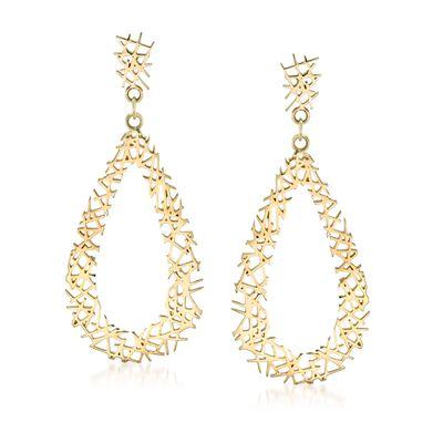 14kt Yellow Gold Openwork Crisscross Teardrop Earrings, , default