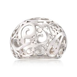 Sterling Silver Scroll Cut-Out Dome Ring, , default