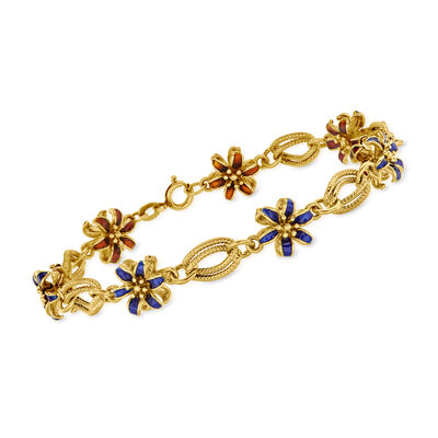 C. 1970 Vintage Blue and Orange Enamel Flower Bracelet in 18kt Yellow Gold