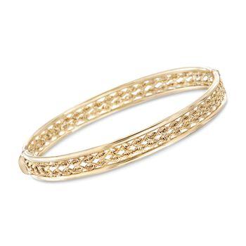 14kt Yellow Gold Twisted Rope Bangle Bracelet, , default
