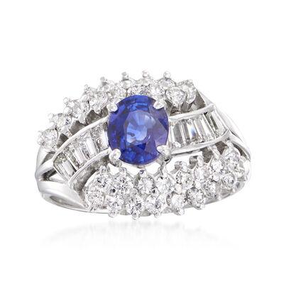 C. 1980 Vintage 1.12 Carat Sapphire and 1.05 ct. t.w. Diamond Ring in Platinum
