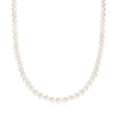 7-8mm Cultured Pearl Necklace with 14kt Yellow Gold, , default