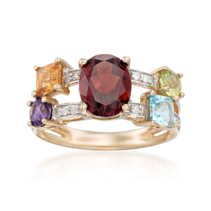 3.90 ct. t.w. Multi-Stone and .13 ct. t.w. Diamond Ring in 14kt Yellow Gold, , default